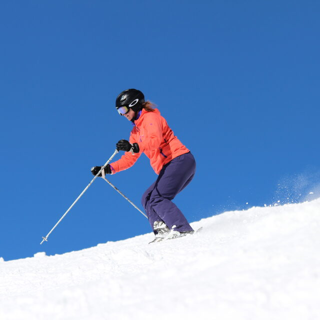 Sarah Skiing the Off Piste